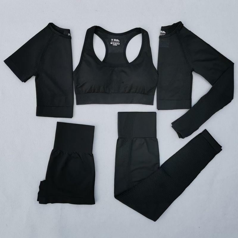 Women Vital Seamless Yoga Set Workout Sport Wear Gym Clothing Short/Long Sleeve Crop Top High Waist Leggings Sports Suit Y1225