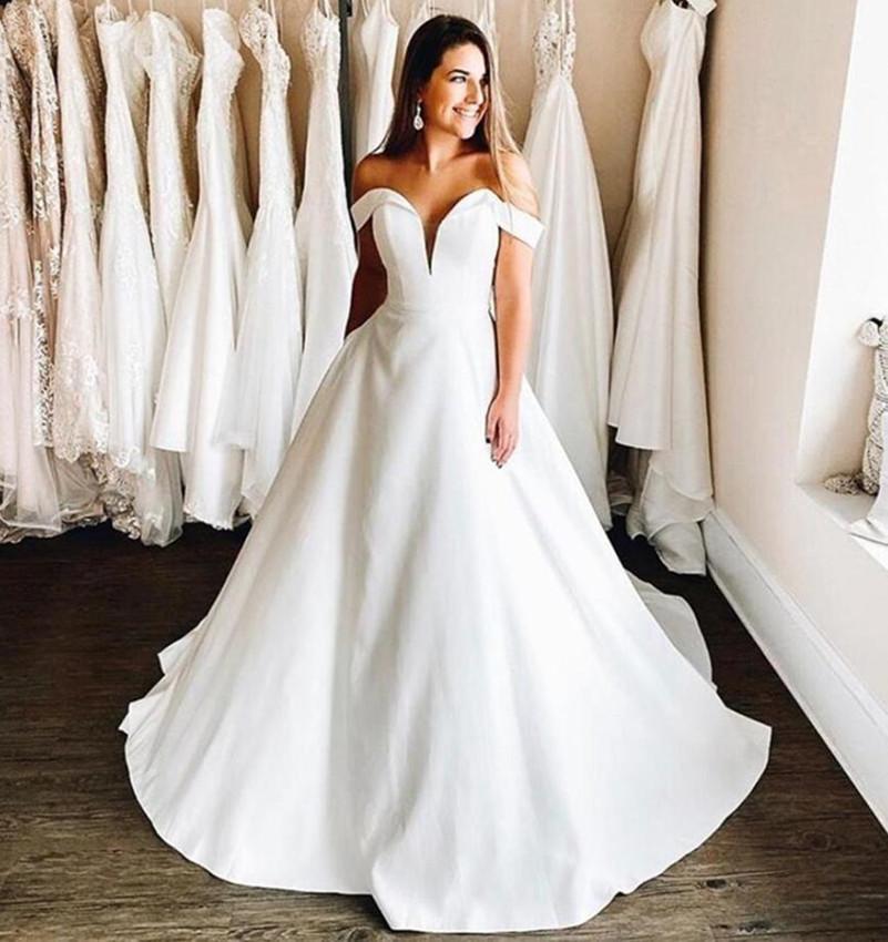 2021 Rabatt auf Schulter eine Linie Brautkleider Kappe Ärmeln Sweep Zug Satin plus Größe Brautkleider Vestidos de Novia