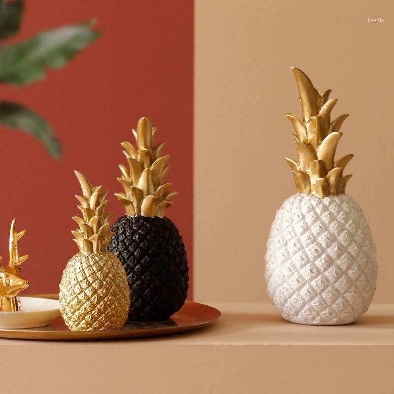 Objetos decorativos Figuras Gold Piña Moderno Decoración del hogar para la sala de estar Ventana de la ventana Desktop Fiesta Boda Nordic resin1