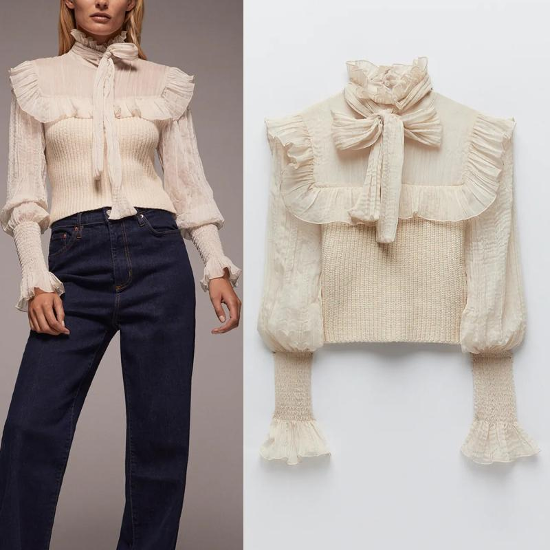 2021 New Top Women Contrast Organza Patchwork Cropped Knitted Sweater Woman Fashion High Neck Bow Tied Long Sleeve Ruffle Blouse D9ds