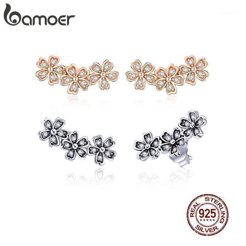 Damızlık Bamoer Daisy Çiçek Şeffaf CZ Küpe Kadınlar Için Gül Renk 925 Ayar Gümüş Takı Sevgililer Günü Hediyesi Kız GXE4191