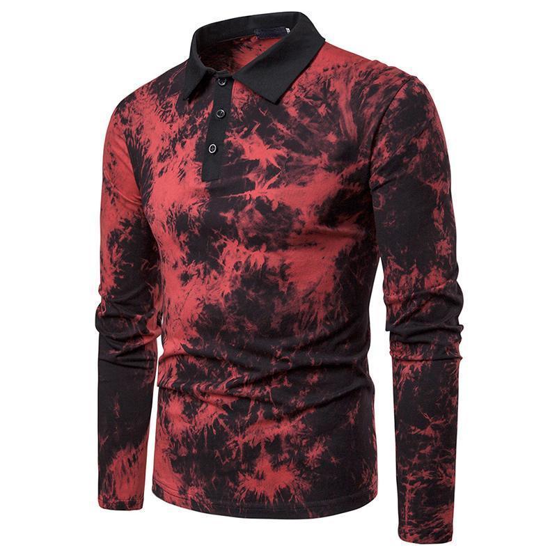 Niza Primavera Nuevo Color de inyección de tinta de manga larga Color Casual Camisa para hombre Sapa de moda Jersey
