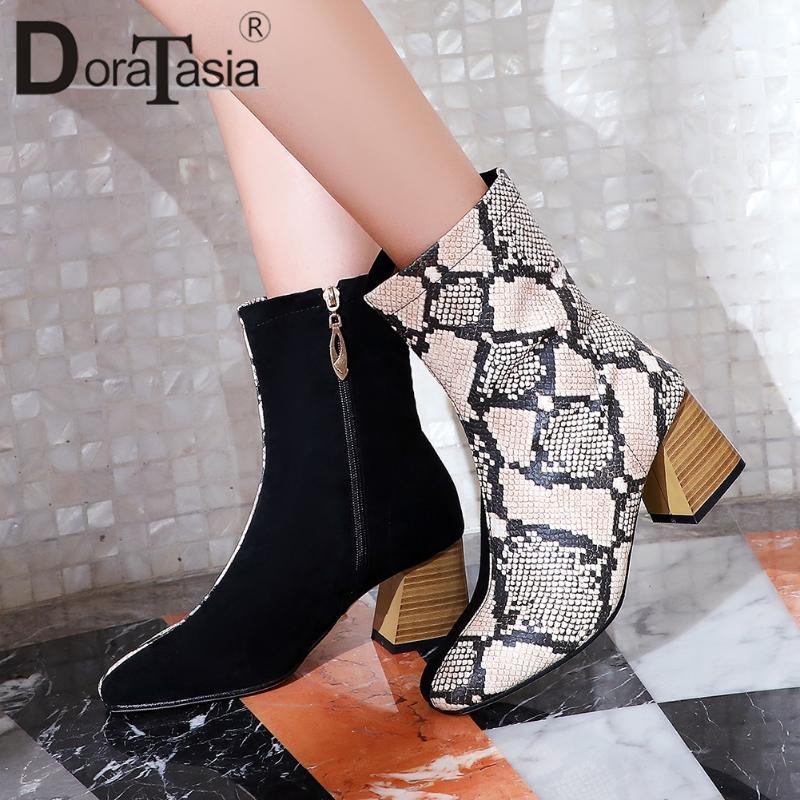 Doratasia más Tamaño 32-48 A estrenar Damas Chunky Tacones Botas Botas de fiesta Mujeres Venas de Serpiente Medianas Colores Móviles Zapatos de tobillo Mujer
