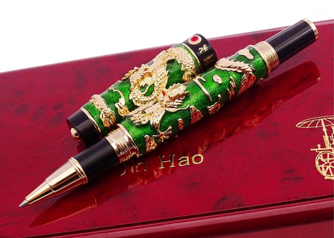 Penna a sfera a rulli di Jinhao fatti a mano, verde cloisonne doppio drago penna advanced artigianato scrittura regalo penna per il business graduato1