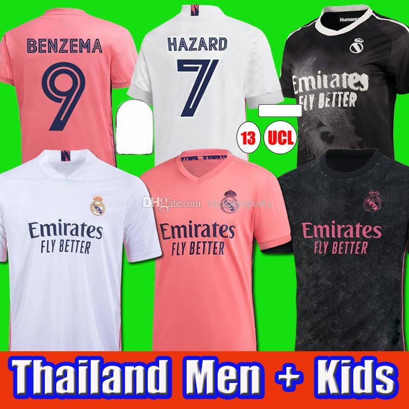 Реальные майки Мадрид 20 21 Футбол Джерси Опасность Sergio Ramos Benzema Vinicius Isco James CamiSeta Футбольная рубашка Униформа Мужчины + Kids Kit Sets
