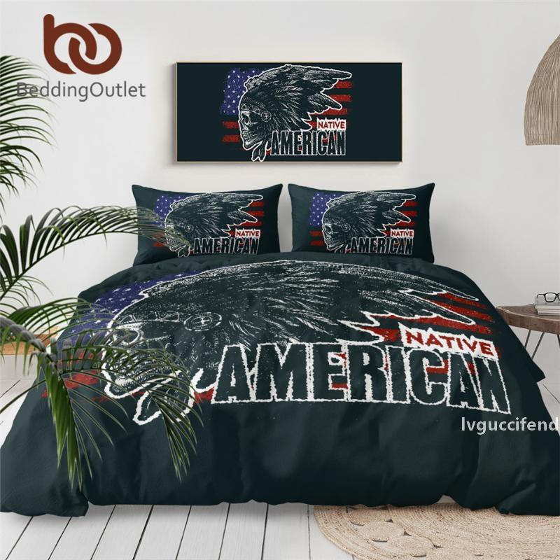 BeddingOutlet Gothic Skull Bedding Set Vintage Tribal Duvet Cover for Adults India Chief Bedspreads American Flag Home Textile