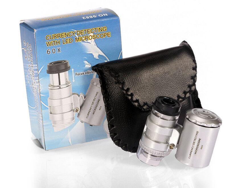 Pocket LED 60x Microscope Microscope Magnifier Magnifier 60 x Mini ingranditori di ingrandimento Microscopi con luce a LED + custodia in pelle + pacchetto Ultima fantasia