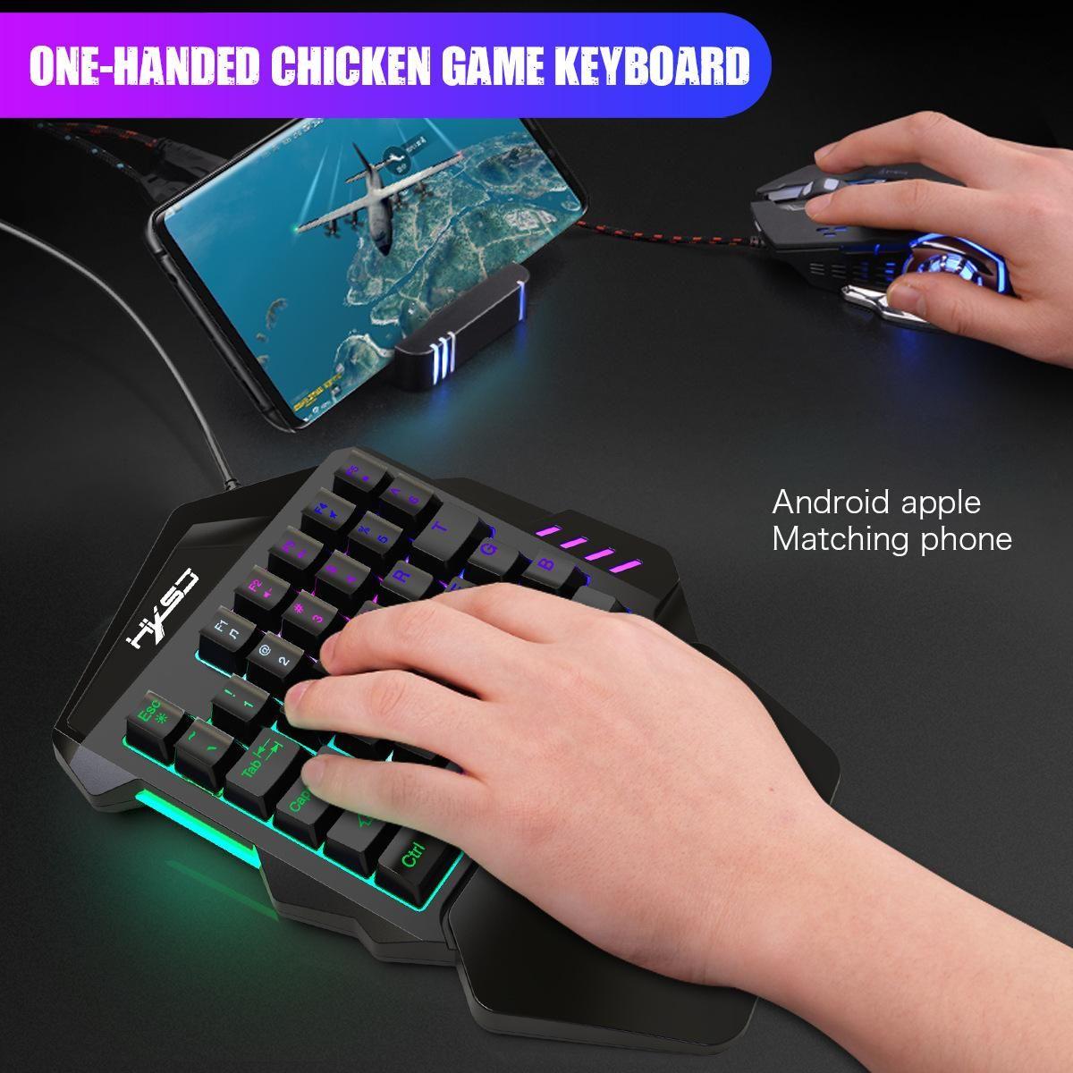 Clavier filaire et souris Combinaison clavier mécanique 5500DPI souris à une main Gaming Clavier Souris Gamer Pour Ordinateur De Bureau