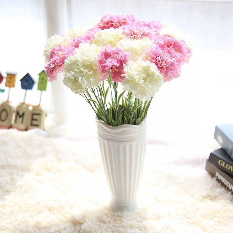 Künstliche Slik-Nelke Blume Home Hochzeitsdekoration 6 Blumen Kopf Valentinstag Muttertag Geschenk1