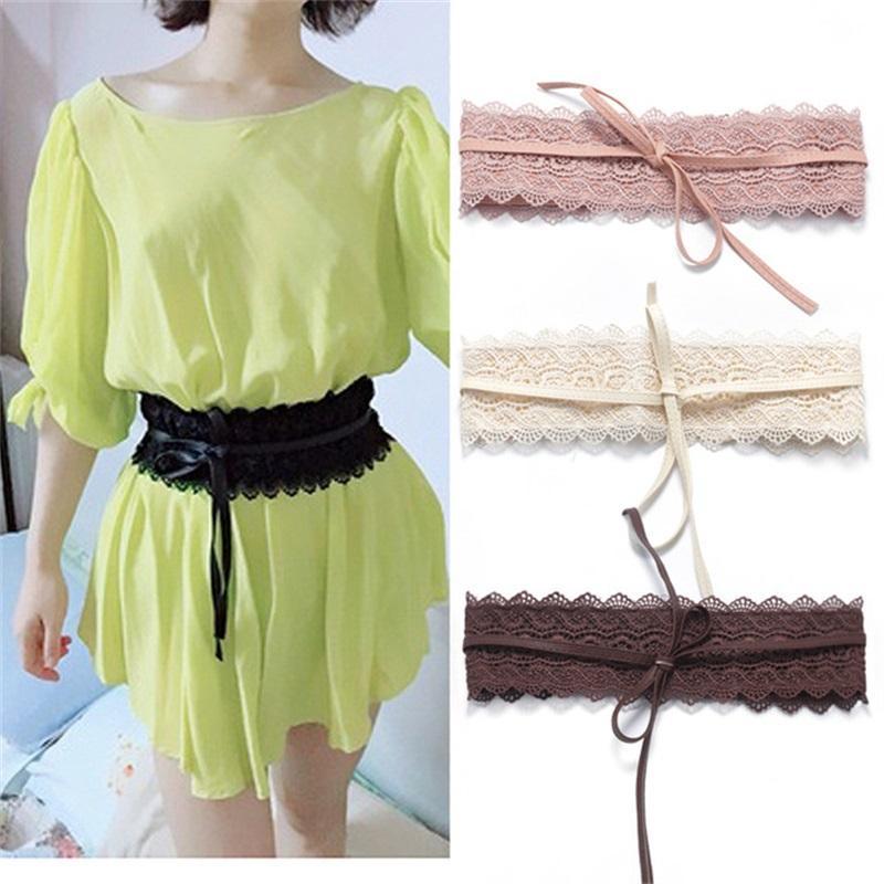 Cinturón de encaje Súper ancho Sweet Girdle de lazo Policromático Vestido de lazo Mujer Sólido Color Corsé Cintura Accesorios de Moda 6on K2