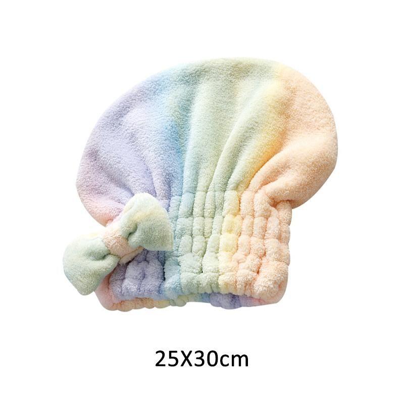 Asciugamano per capelli asciutti con bowknot berretto da doccia Super assorbente Asciugatura rapida Cappuccio per capelli Accessori da bagno per le donne Coral Velvet H Bbykoo