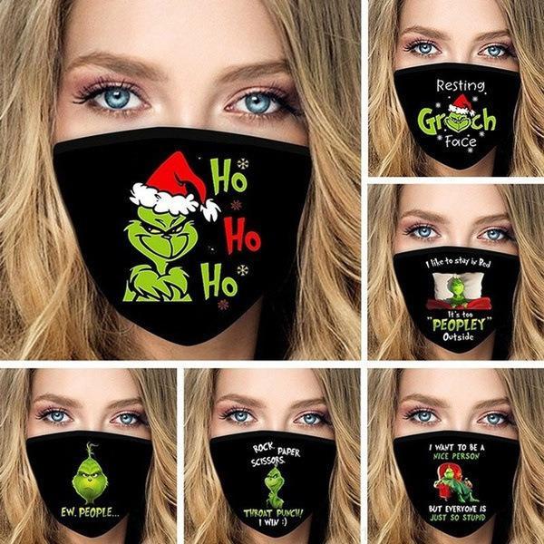Réutilisable Bestselling 3D Imprimer Cosplay Coton Partie de coton Masques de la poussière lavable Preuve de la poussière Mode mignon Masque Visage adulte Grinch Sole