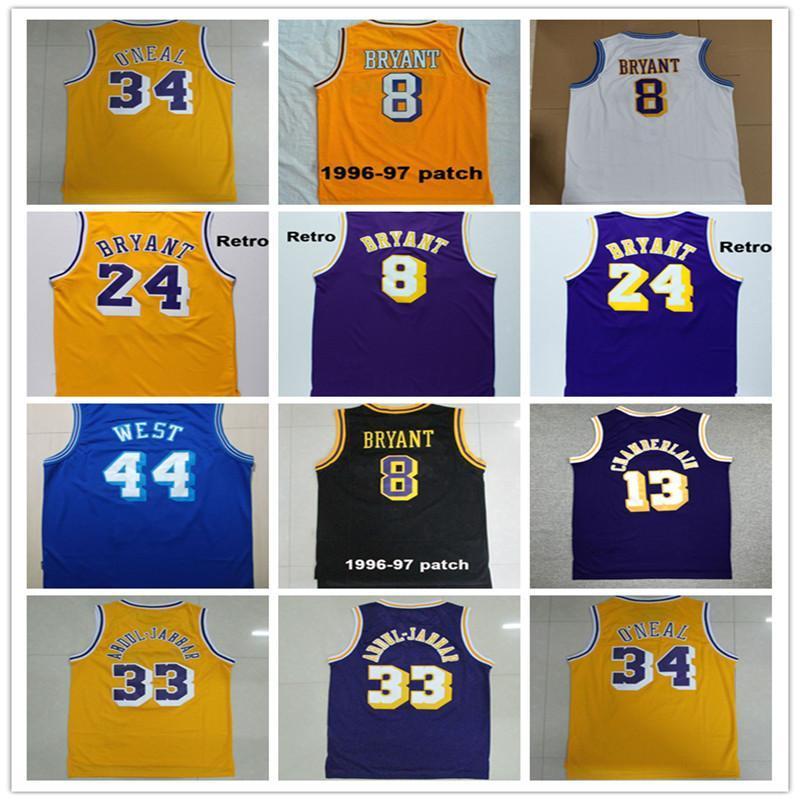 NCAA Vente en gros de bonne qualité Broderie Vintage Shaquille 34 O Neal Jerry 44 West Kareem 33 Abdul Jabbar, No.8 Chemises de basketball avec 1996-1997