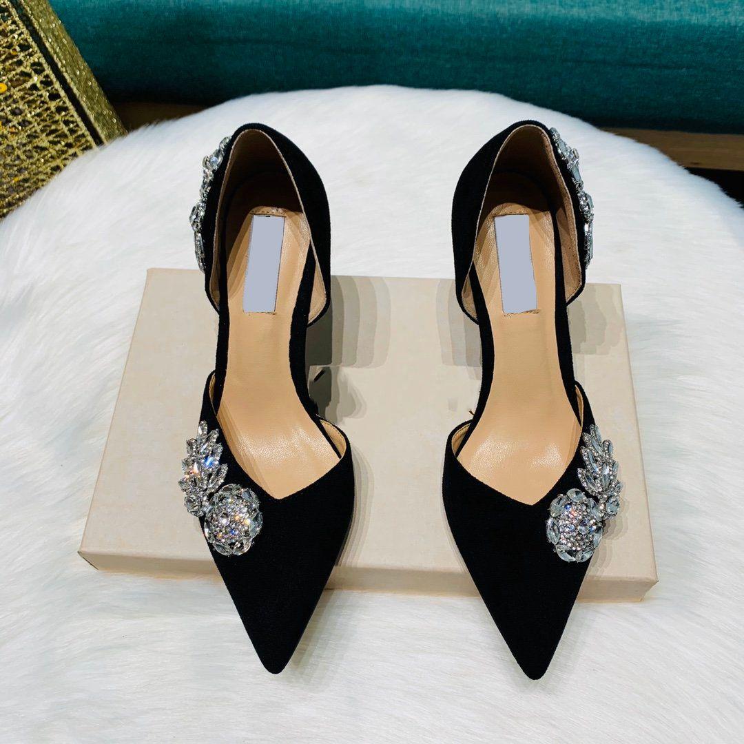 المصممين المصممين أحذية عالية الكعب النساء الترتر اللباس أحذية سوداء الخنجر كعب أحذية النساء حفلات حفل زفافجيمي مع مربع