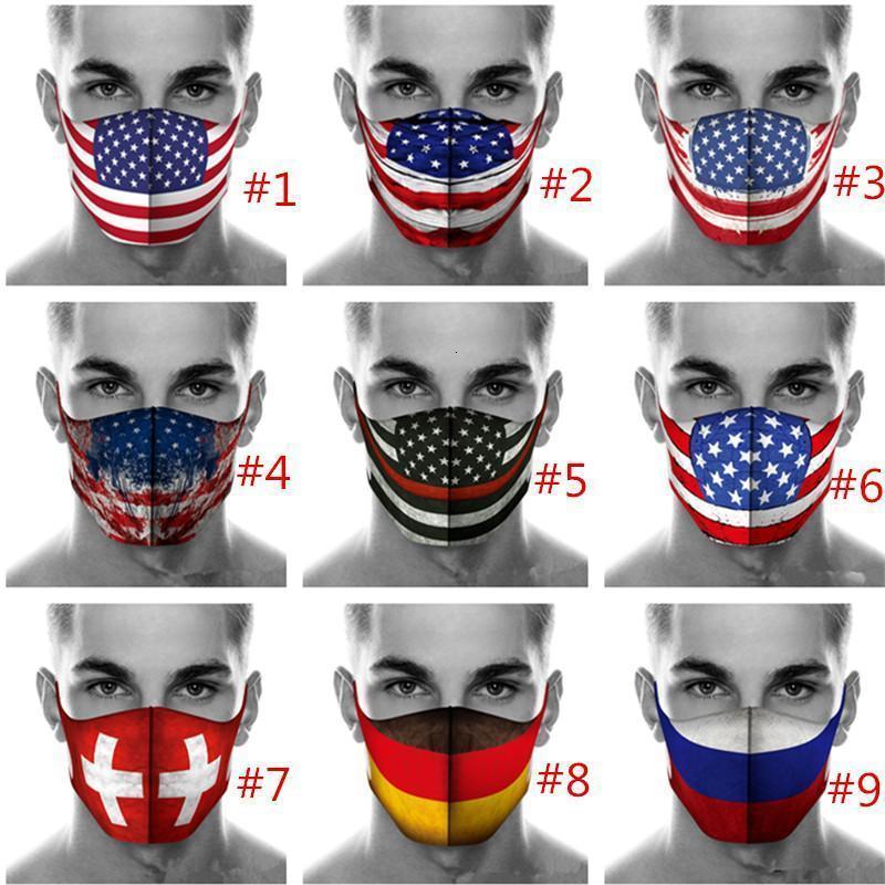Masque Amérique du visage Styliste Flag 3D Print Masques Hommes Femmes Lavable Coton anti-poussière Housses de protection Masques de sport plein air