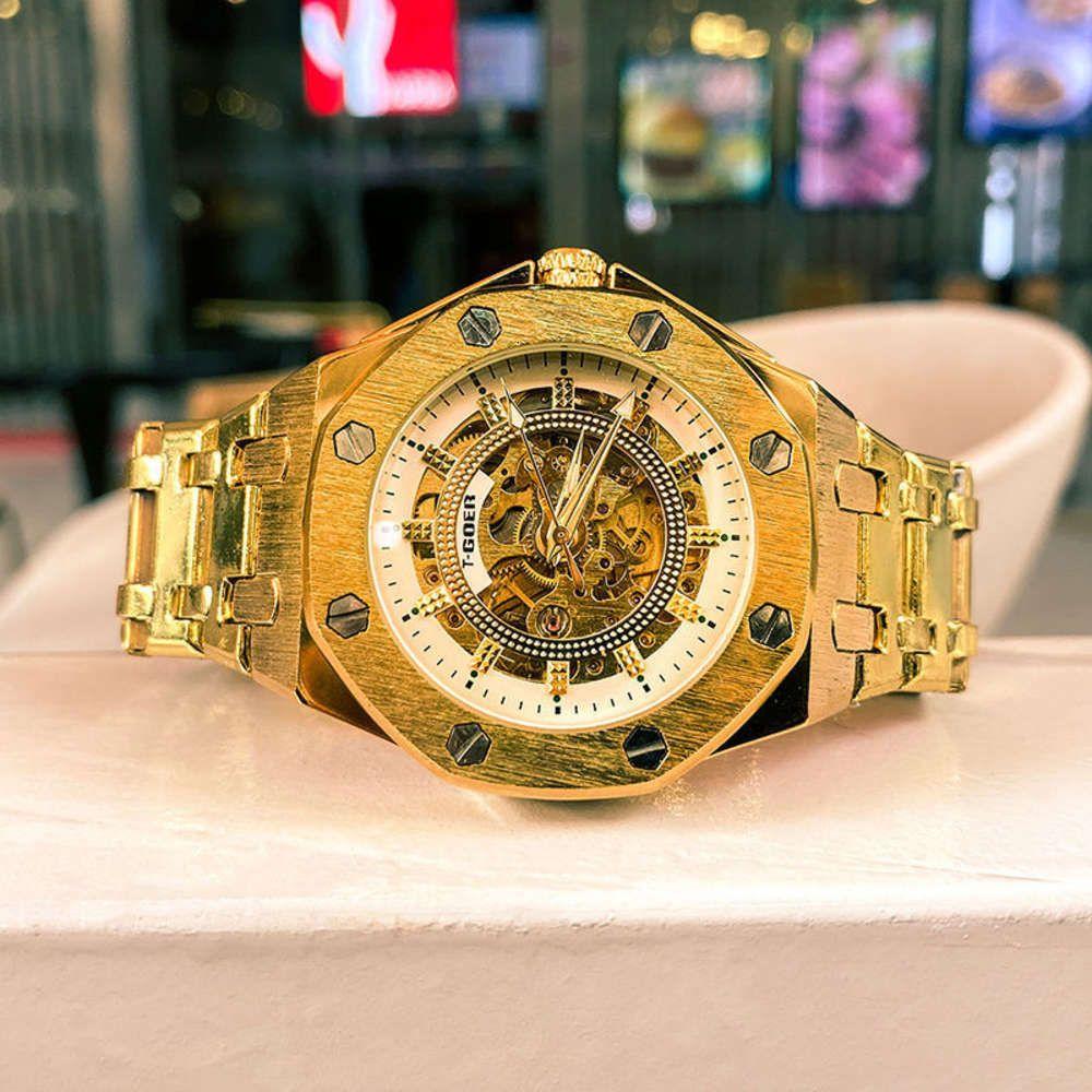 Tourbillon Hollow Completo Mecánico Reloj Automático Cinturón de acero Militar Wind Súper Gran Dial Reloj Hombres
