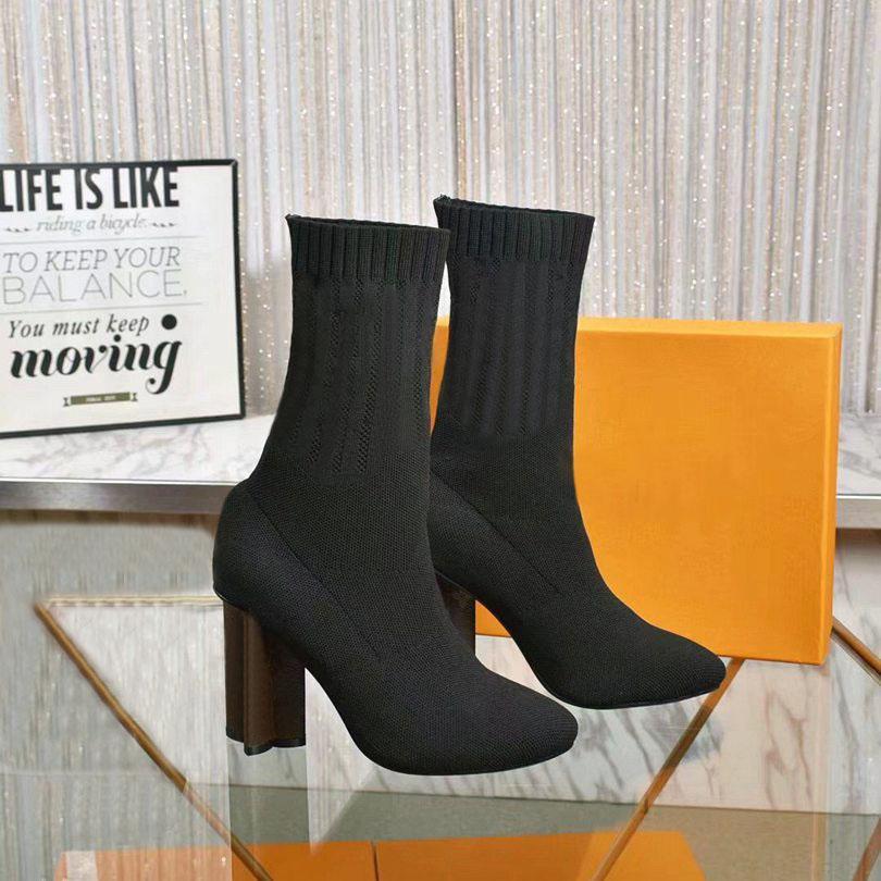 Çorap Çizmeler Tasarımcı Sonbahar Kış Kadın Ayakkabı Örme Elastik Bootes Lüks Çizmeler Seksi Kadınlar Yüksek Topuklu Ayakkabı Büyük Boy 35-41-42