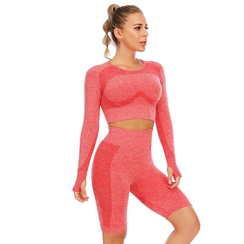 Seamless Women Yoga Set Crop Top Long Sleeve& Shorts High Waist Push Up Running Leggings Fitness Sport Wear Workout Clothes