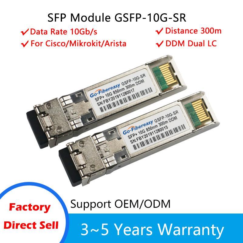 Module d'émetteur-récepteur SFP 10gbs Module SFP-10G-SR Module SFP multi-MODE 850NM 300M SFP-10G-SR compatible avec le commutateur Cisco / Mikrotik / Huawei