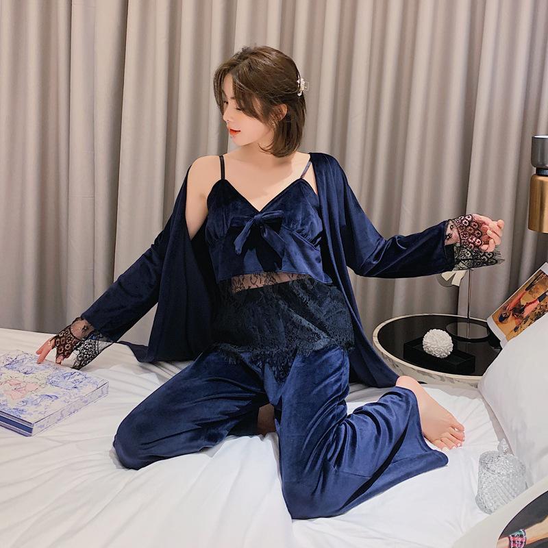 Sexy Womens Robe Sling Trousers 3pcs Gold Velour Pyjamas Female Pajamas Set Home Suit Worn Outside Sleepwear