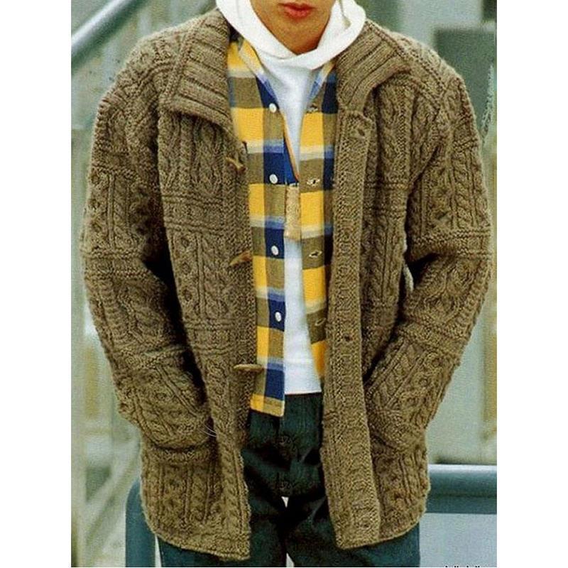 Мужская поворотное цветочное пальто отворота тонкий фитинга с длинным рукавом куртка сплошной хлопок свитер вязаные теплые пуловеры джемпер
