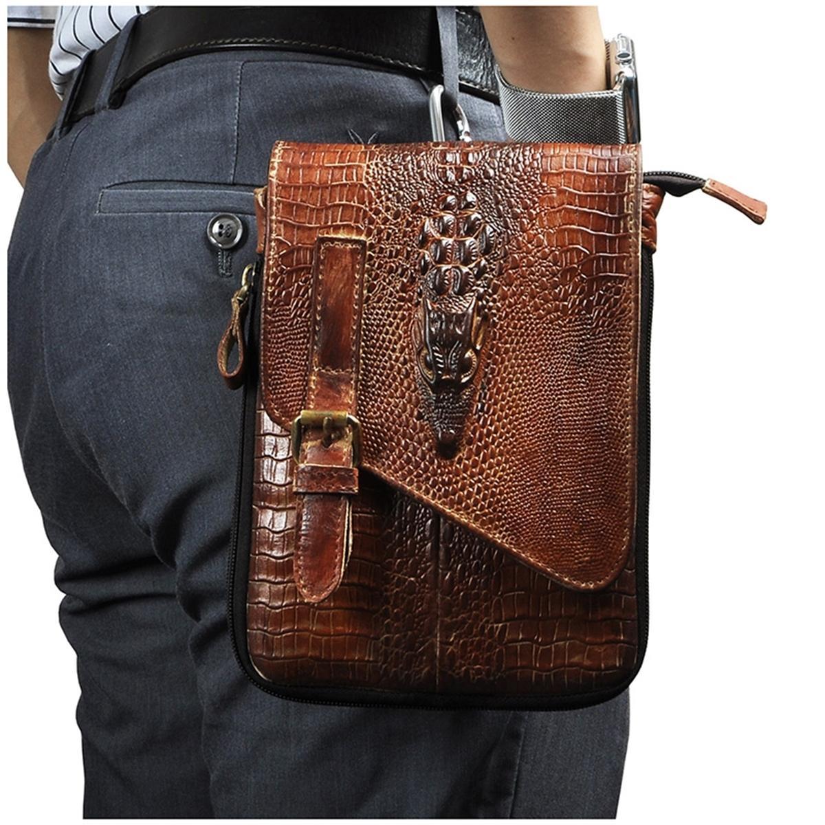 "Leather men Casual Design Multifunction Small Messenger Cross body Travel Fashion Waist Belt Pack 8"" Tablets Bag 611-1-b 201130"