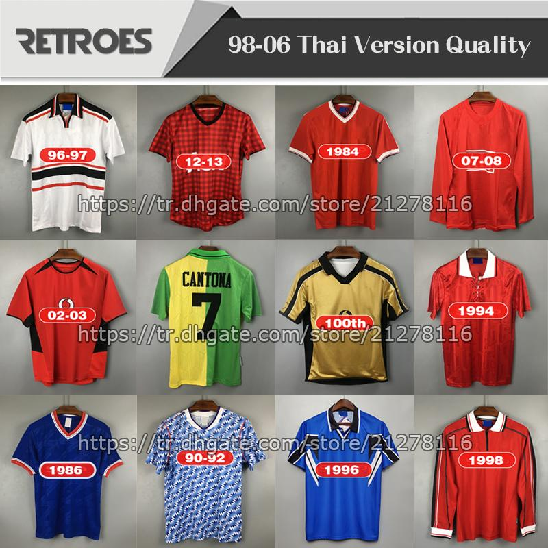 2007 2008 Retro Red Home Jersey 100 aniversario 07 08 Retro # 10 Rooney Giggs 98 99 Retro 7 Beckham Football Shirts