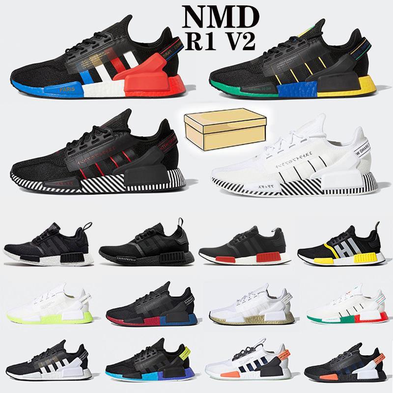 Venta al por mayor NMD R1 Primeknit Zapatillas de deporte de calidad superior Color clásico Malla Triple Blanco Crema Salmon Atletismo Zapatillas de deporte EE. Con caja