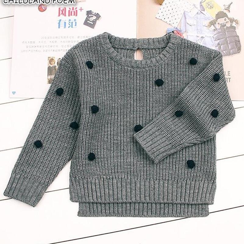 Свитер осень зима Помпам мальчики свитеры младенческий малыш кардиган для девочек вязаные одежды детские пуловеры 201201