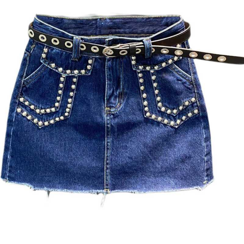 Fashion rivets denim skirt women high waist Anti-glare package hip a-line mini skirt
