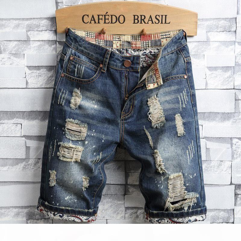 Summer Mens Jeans Shorts Strappato Denim Pantaloncini Denim Mens Slip L Middle Straight Biker Pants Elastico Slim Mendicargar Paragrafo OR71A