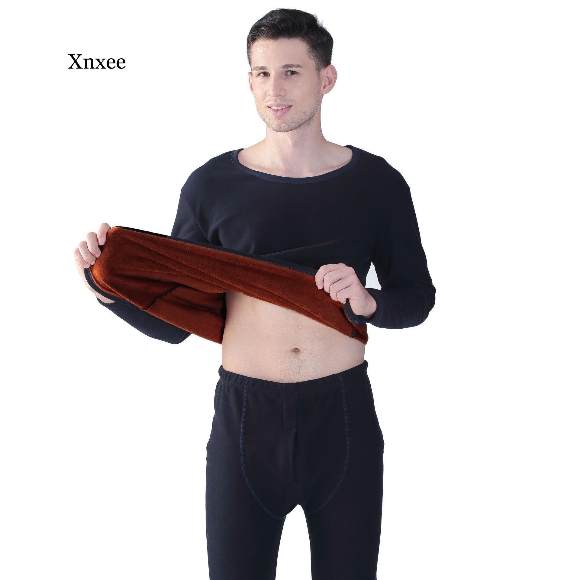 8XL Sıcak Rus Erkekler Termal İç Dipleri 2020 Sonbahar Yeni Artı Vlvet Yumuşak Kalınlaşmak Sıcak Kış Uyku Kıyafet