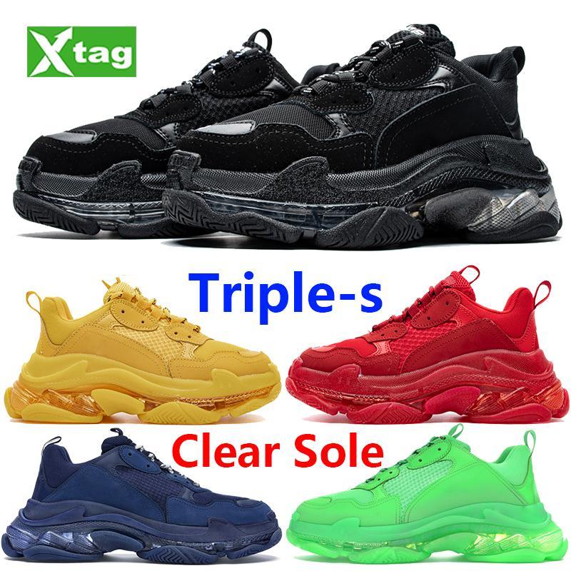 الأزياء الثلاثية s واضح وحيد الأحذية 17fw منصة أسود أبيض أصفر قوس قزح بيج رمادي الرجال النساء أحذية رياضية الجري