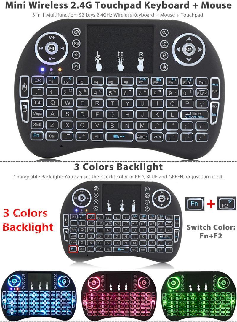 لوحة مفاتيح الألعاب الساخنة i8 مصغرة ماوس لاسلكي 2.4 جرام المحمولة لوحة اللمس بطارية قابلة للشحن يطير الهواء الماوس التحكم عن بعد مع 7 ألوان الخلفية