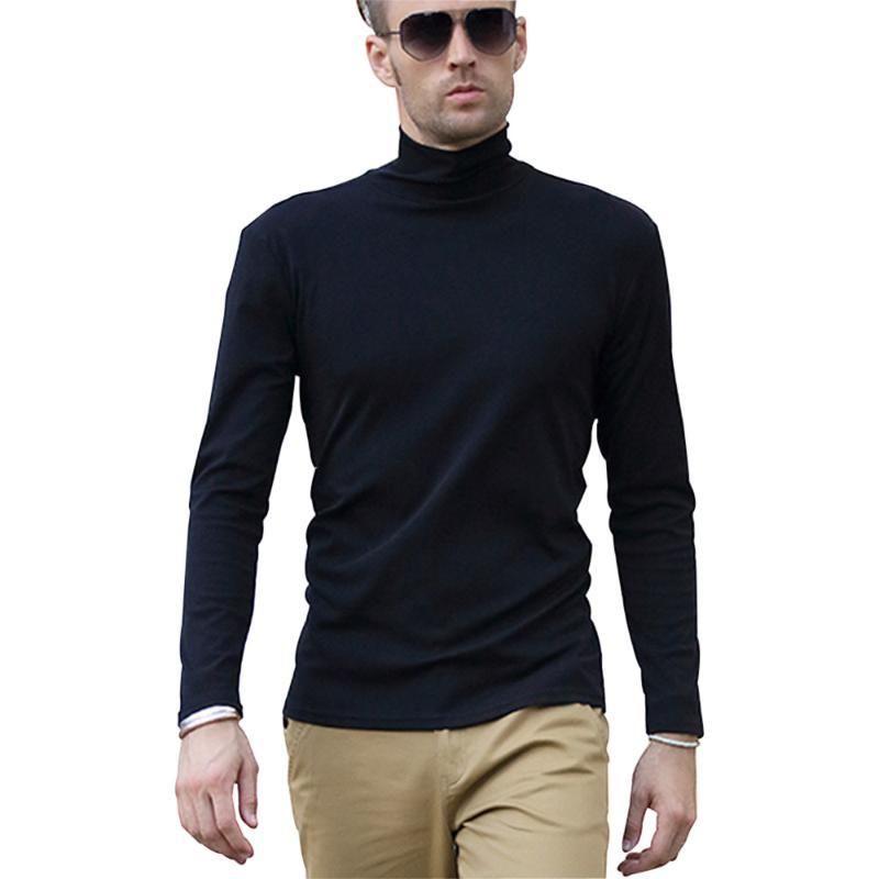 Balıkçı Yaka Uzun Kollu T Gömlek Erkekler Siyah Pamuk Spandex Rahat Iş Ofis Slim Fit Estetik Eğlence Eboy Tops Artı Boyutu
