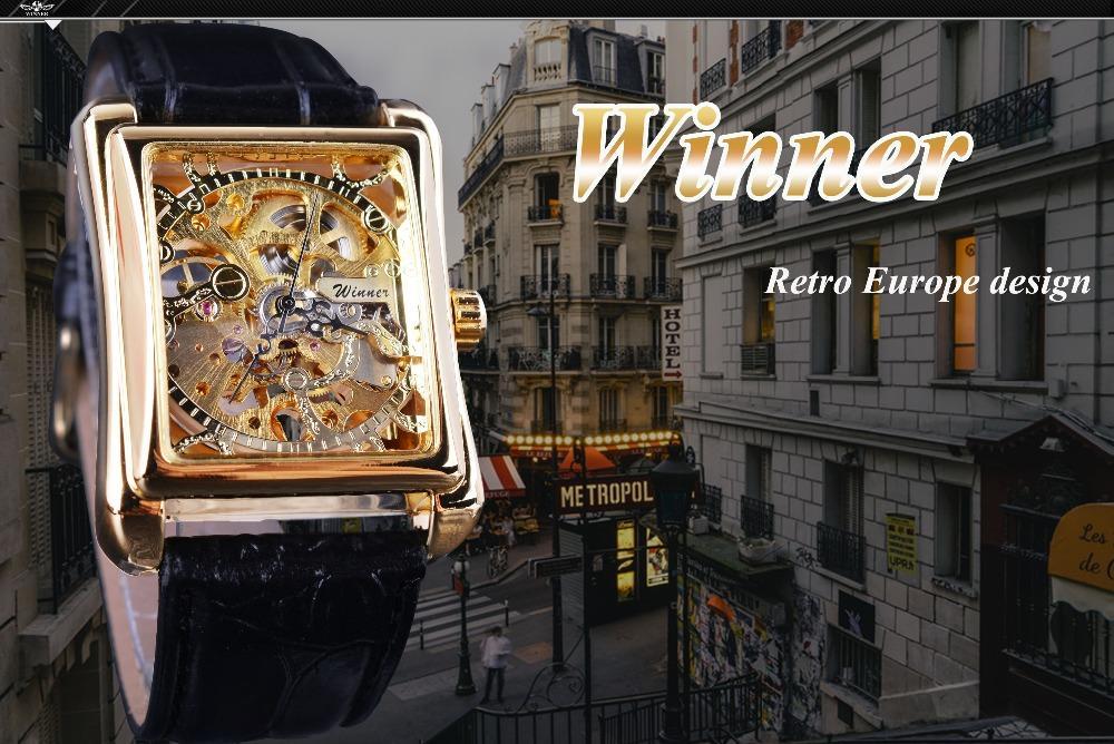 Winner 2019 Retro Casual Series Rectangle Dial Design Golden Pattern Hollow Skeleton Watch Men Watch Top Brand Mechanical 2019