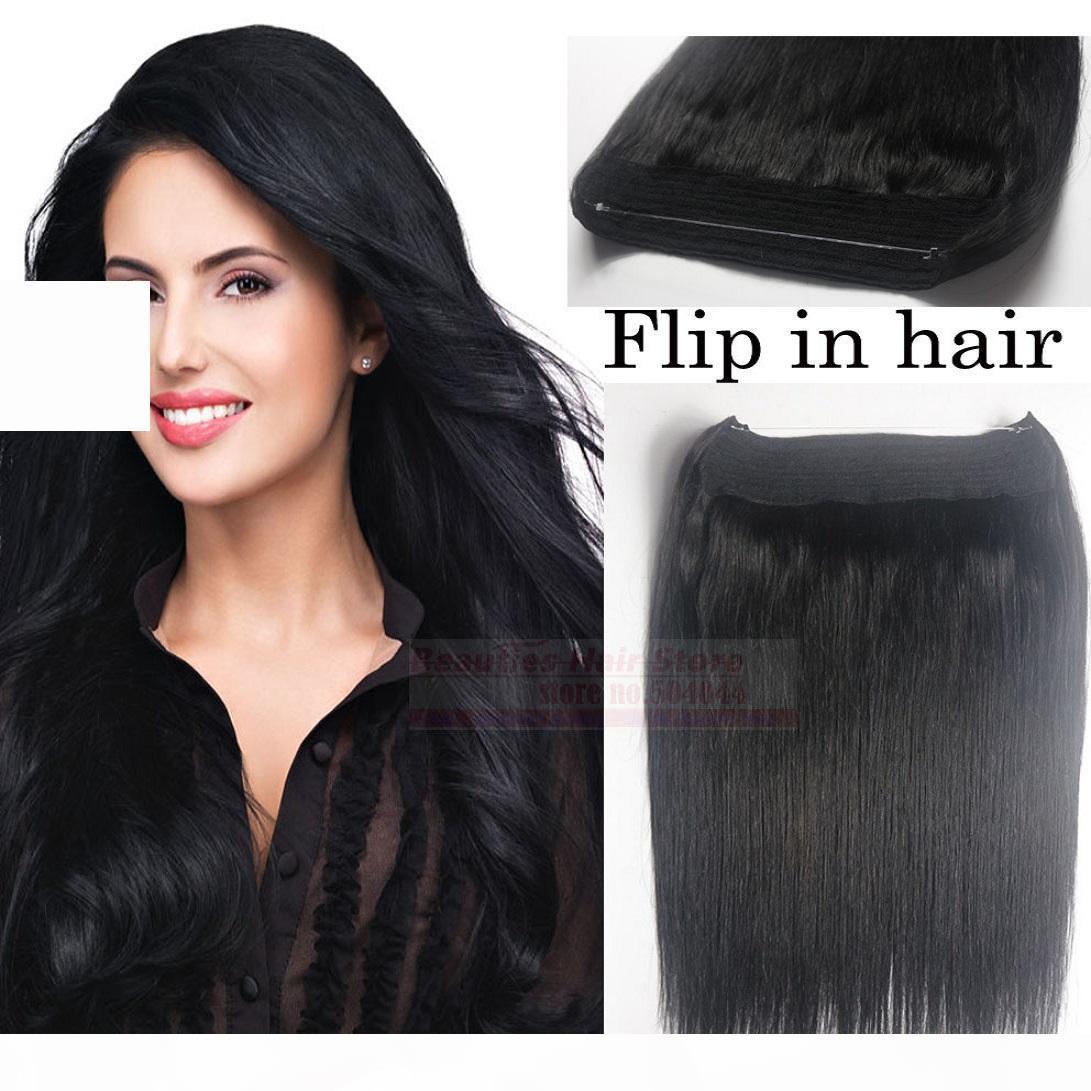 "ZZhair 16 ""-32"" 100% Brasileño Remy Hair Hair Hair Pein Flips en la extensión del cabello humano 1pcs Set No-Clips # 1 Jet Black 80g-200g"