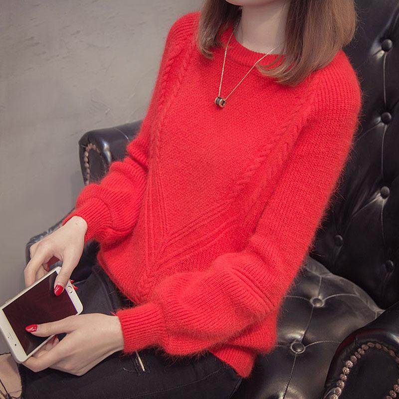 Women's Sweaters Autumn Winter 2021 Women O Neck Long Sleeve Pullovers Knitwear Outerwear Korean Loose Female Warm Jumper Tops