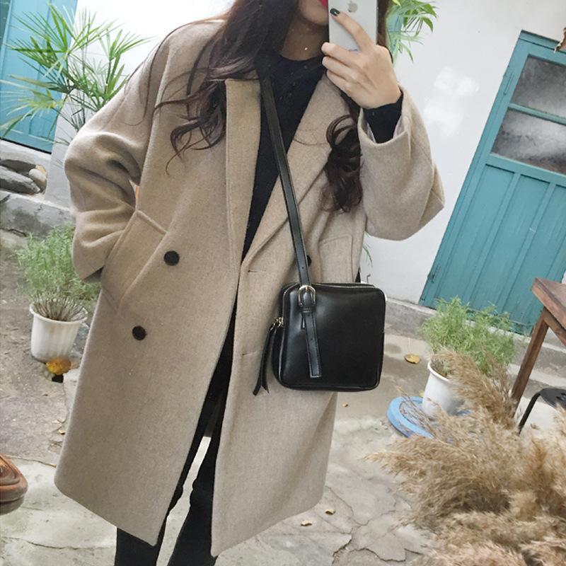 المرأة الصوف يمزج معطف المرأة الخريف الملابس لزر طويل الصلبة جيوب الخامس الرقبة مزدوجة الصدر abrigos بارا موهير الكورية