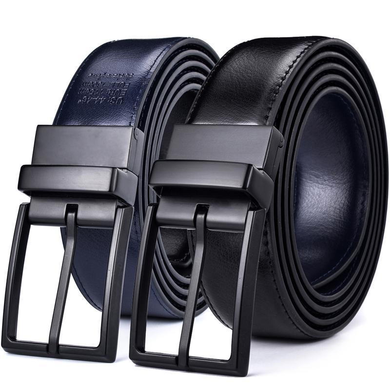 Ceinture réversible en cuir pour hommes - Design de mode classique Noir / bleu Deux dans une ceintures avec boucle tournée CEINTURE Taille 28-54 201117