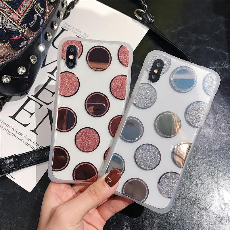 Casos de puntos galvanales de lujo para iPhone 11 Pro MAX 8 6 6S 7 PLUS X XR XS Cubierta de la caja del teléfono suave MAX
