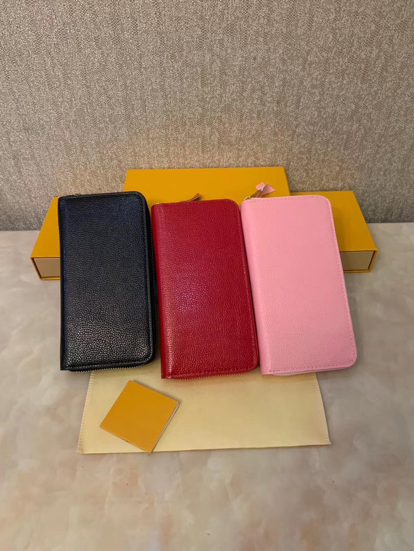 2019 Commercio all'ingrosso 1 Colori Fashion Singola cerniera Designer Uomo Donna Portafoglio in pelle Lady Ladies Borsellino lungo con scatola di scatola arancione 60017