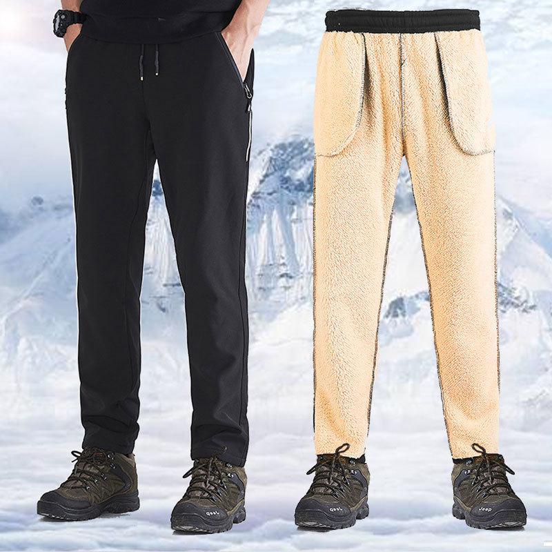Pantaloni da uomo invernali da uomo Pantaloni fodera corridoi pantaloni sportivi in lana calda in trekking dell'acqua