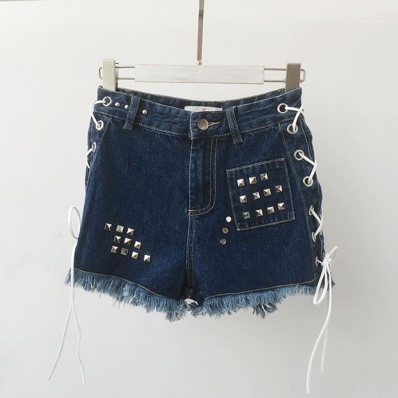 Pantaloncini da donna Brand Moda Donna Brand Vintage Tassel Rivet RIPPED HIGHTED BREVE Jeans Punk Sexy Denim Denim H1831