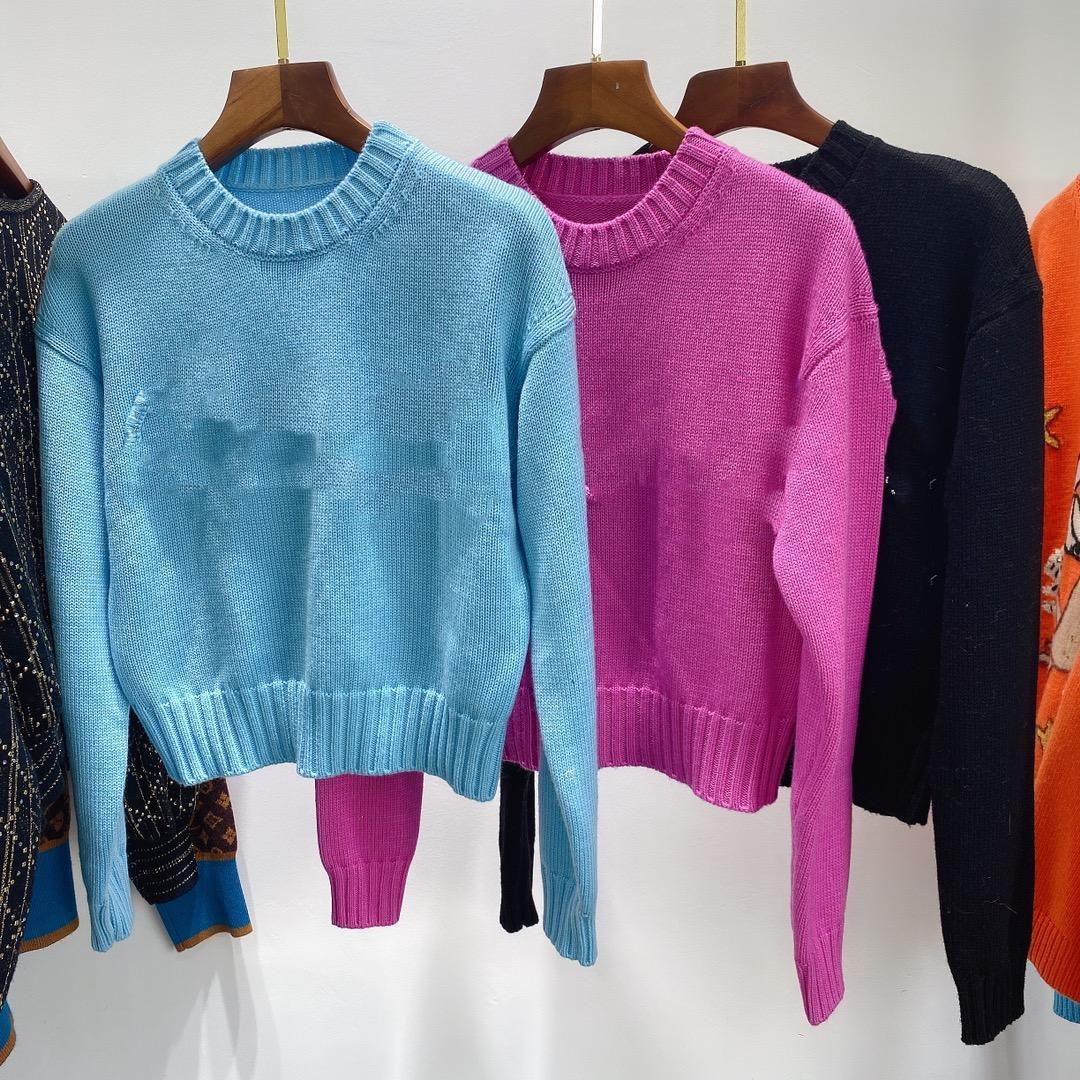 1101 2020 осенний бренд такой же стиль обычный с длинным рукавом экипаж шеи кинта свитер розовые черные женщины одежда Цянь