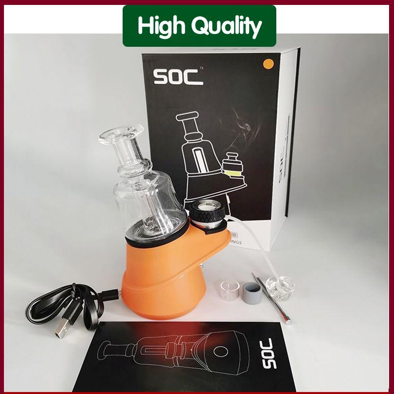 2021 mais novo SOC VAPES Atomizer Tubos de vidro tubo de fumo Seco Herb Starter Vapor 2200mAh Bateria 4 Configurações Temp Ecig Dab Rig Rig Wax Vaporizador