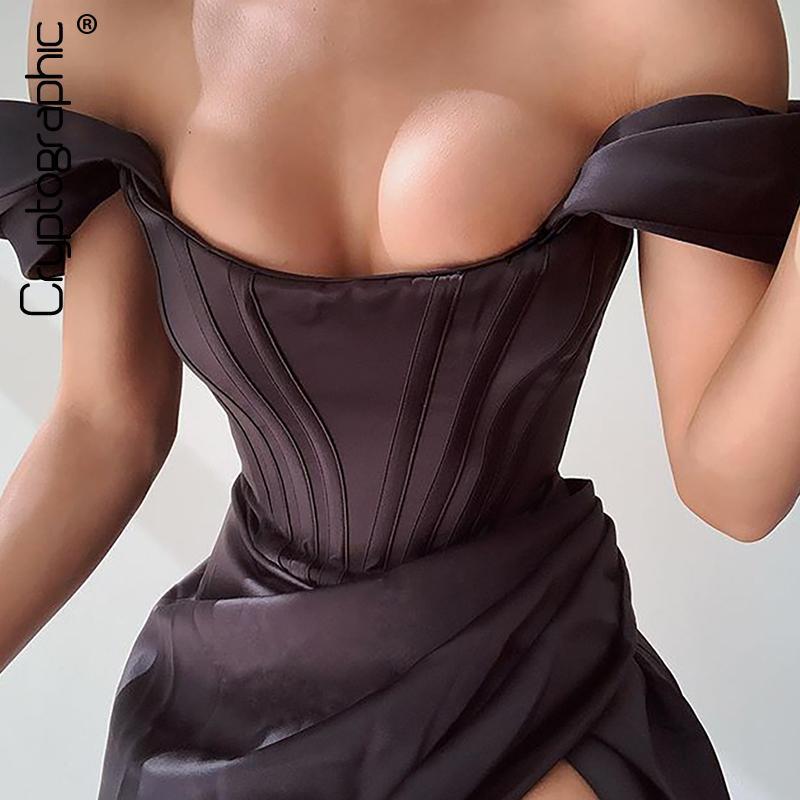 Cryptografico spalla sexy sexy senza spalline raso corsetto satinato abiti moda 2020 Bodycon Dress Dress Donne Party Night Club Elegante Y200418