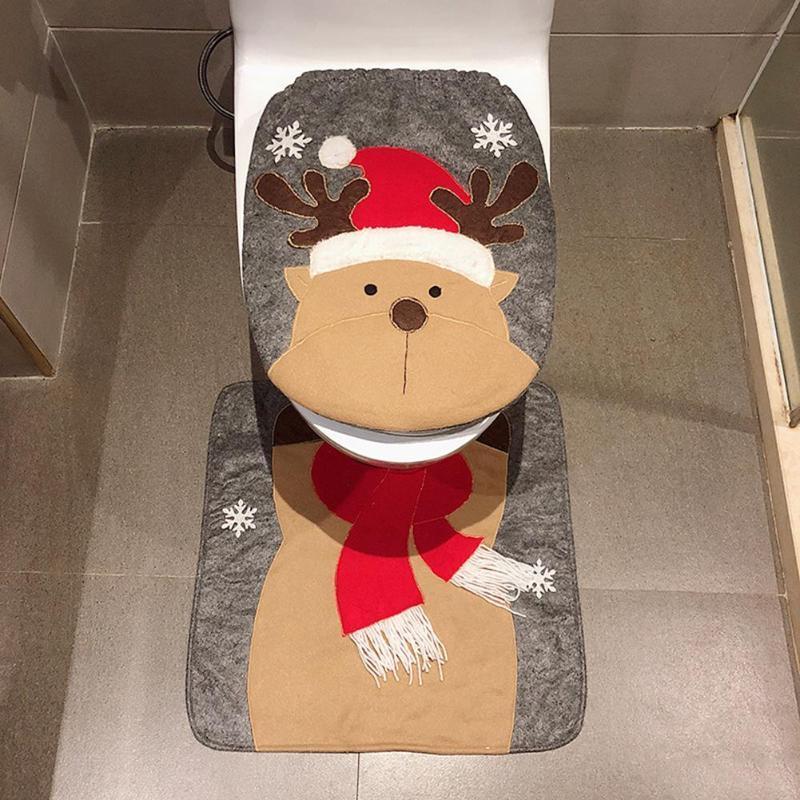 2 قطعة / المجموعة عيد الميلاد الحمام المرحاض غطاء مقعد المنزل عيد الميلاد معطف المرحاض حالة الديكور الحمام