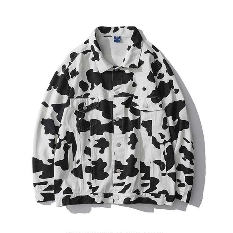 Chaopai vaca manchada de la solapa de los hombres y las mujeres de la capa de gran tamaño Calle par chaqueta de mezclilla grande flojo ocasional