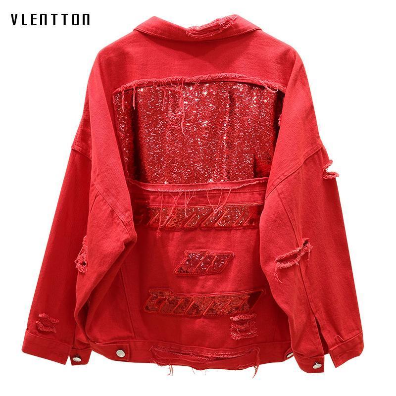 Sonbahar Kırmızı Siyah Denim Ceket Kadınlar Delik Sequins Jeans Ceketler Harajuku Rahat Gevşek Temel Kadın Ceket Dış Giyim Chaqueta Mujer